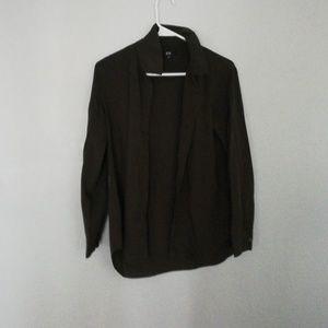 Uniqulo dark olive rayon long sleeve shirt